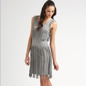 BCBG MaxAzria Fringed Dress Gray Size Small